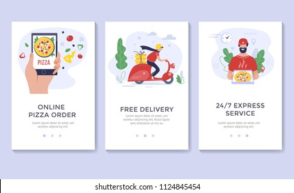 Pizza delivery banner, mobile app templates, concept vector illustration,  flat design