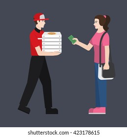 Pizza delivery boy handing pizza box to a girl/ student. Girl giving money for her order. Flat style illustration or icon. EPS 10 vector.