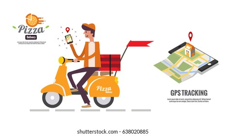 Pizza delivery boy handing smartphone for seeing customer location map. food ordering and delivery concept. Website  banner. flat design vector illustration. eps10