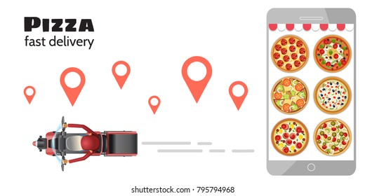 Pizza Delivery boy for online order companies vector illustration