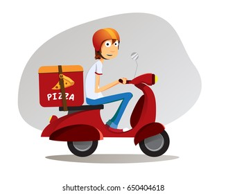 Pizza delivery boy ride on scooter with pizza box and red helmet / full editable vector cartoon illustration
