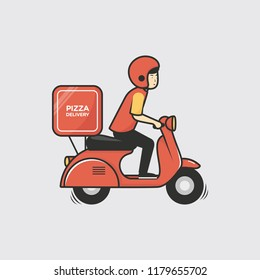 Pizza delivery boy riding red scooter vector illustration