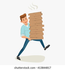 Pizza delivery concept. Handsome smiling guy holding cardboard boxes. Vector cartoon illustration, isolated on white background
