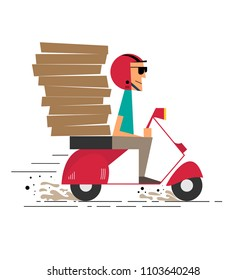 Pizza Delivery Courier Boy delivering stacks of pizza on a retro scooter. Delivery man/guy riding a Moped. Flat vector character illustration