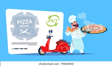 Pizza Delivery Emblem Concept Chef Cook Hold Box With Hot Dish Standing At Red Motor Bike Template Banner With Copy Space Flat Vector Illustration