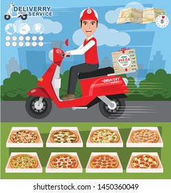 Pizza delivery. Fast and free delivery by scooter. Food service.