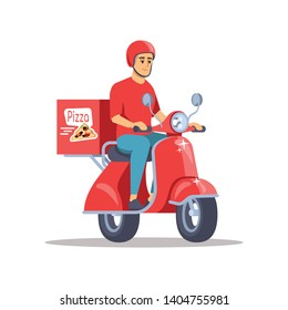 Pizza delivery flat vector illustration. Male courier on scooter delivering meal, fresh snack isolated cartoon character on white background. Odd job, part-time occupation idea for students