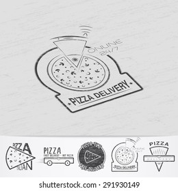 Pizza delivery. The food and service. Old school of vintage label. Old retro vintage grunge. Scratched, damaged, dirty effect. Monochrome typographic labels, stickers, logos and badges.