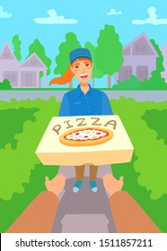 Pizza delivery girl holding a box with the order. First-person view of the buyer. Hands reach for the pizza. Summer suburban houses and lawn with green grass on the background.