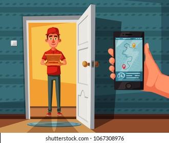 Pizza delivery guy handing pizza box on doorway. Cartoon vector illustration. Delivery order. Open door. Inside of home.