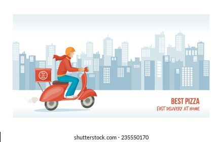 Pizza delivery guy at work on a red scooter with cityscape on background