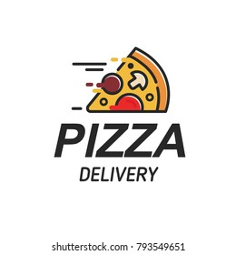 Pizza delivery logo, pizzeria icon, emblem for fast food restaurant. Simple flat line style pizza logo on white background