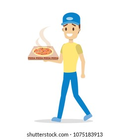 Pizza delivery. Man with cardboard box of pizza.