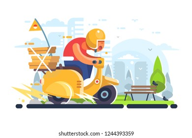 Pizza delivery man on scooter flat poster. Boy courier of pizzeria riding on yellow motorbike with food boxes vector illustration. Cityscape on background