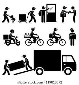 Pizza Delivery Man Postman Milkman Paperboy Courier Services Stick Figure Pictogram Icon