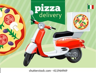 Pizza delivery on scooter motorbike. Vector illustration.