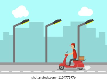 Pizza delivery service in day. The guy on the scooter delivers the pizza. The boy delivers food fast and free of charge on a scooter. vector illustration