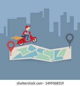 Pizza delivery service. The guy on the scooter delivers the pizza. The guy delivers food fast of charge on a scooter EPS10