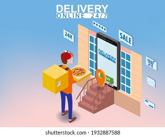 Pizza Delivery Service Isometric concept. Courier with pizza box shipping to home, smartpnone. Fast 24 7 shipping, online food order template banner. Vector illustration 3d isolated