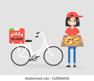Pizza delivery service. Young courier holding the box with Margarita. Bike. Flat editable vector illustration, clip art