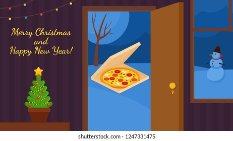 Pizza delivery Vector Merry Christmas and Happy New Year background.  Greeting card and Ecard vector banner invitation.