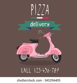 Pizza delivery. Vintage pink scooter. Italy style.Vector illustration