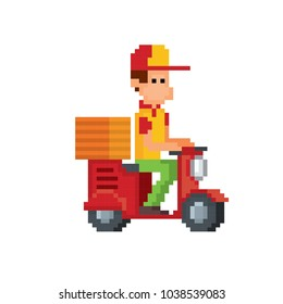 Pizza deliveryman on a scooter.  Pixel art. Old school computer graphic style. Game assets.