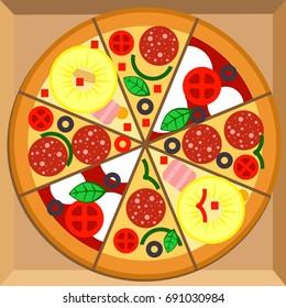 pizza pepperoni design template vector illustration stock vector
