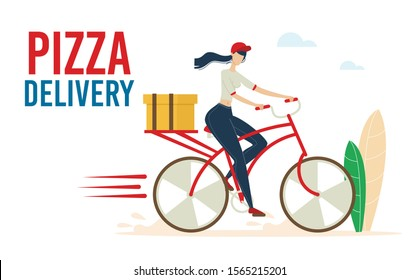 Pizza Express Delivery Service Trendy Flat Vector Advertising Banner, Poster Template with Female Courier, Woman Riding Bicycle, Hurrying While Delivering Cardboard Box, Restaurant Order Illustration