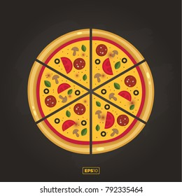 Pizza flat icon isolated on black background. Pizza food silhouette. Pizza piece, vegetarian slice. Food menu illustration isolated. Pizza vector collection isolated on black. Vector design element