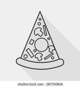 Pizza flat icon with long shadow, line icon