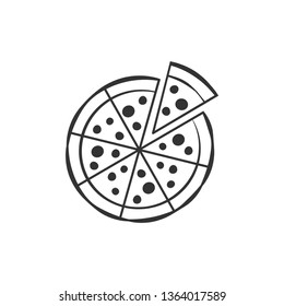 Pizza flat icon on white background