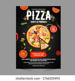 Pizza Flyer Design Template cooking, cafe and restaurant menu, food ordering, junk food. Pizza, Burger, French fries and Soda. Vector illustration for banner, poster, flyer, cover, menu, brochure.