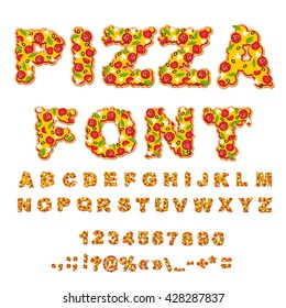 Pizza font. Letters dough. meal Alphabet. Fastfood ABC. Italian feed. fresh slice. numbers and punctuation marks. Tomatoes and mushrooms. Greens and sausage. Cheese and olives