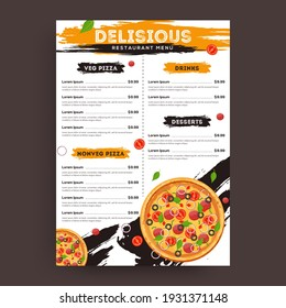 Pizza food menu for restaurant and cafe. Design template with hand-drawn graphic illustrations for print