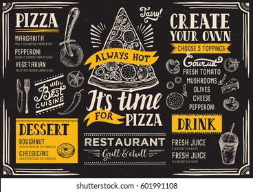 Pizza food menu for restaurant and cafe. Design template with hand-drawn graphic elements in doodle style.