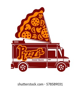 Pizza food truck logo vector illustration. Vintage style badges and labels design concept for food delivery service vehicles. Two tone logo templates for your design. Isolated on a white background