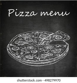 pizza food vector flat illustration chalk board drawing icon isolated menu fast