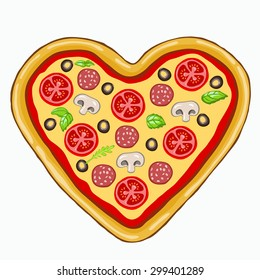 pizza in the form of heart on a white background