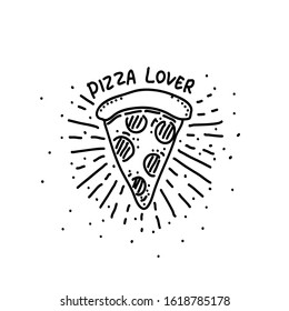 Pizza freehand drawing-vector illustration. Doodle style.