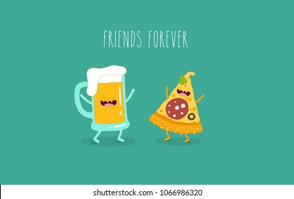 Pizza, funny pizza, beer, funny beer, pinta beer. Funny food, cut image, vector illustration. Use for postcards, posters, stickers, magnets.