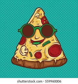 Pizza Geek Mascot Illustration. Vector Illustration