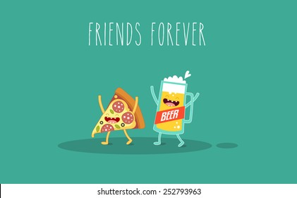 Pizza and glass of beer. Fast food. Vector cartoon. Friends forever. You can use in the menu, in the shop, in the bar, the card or stickers.