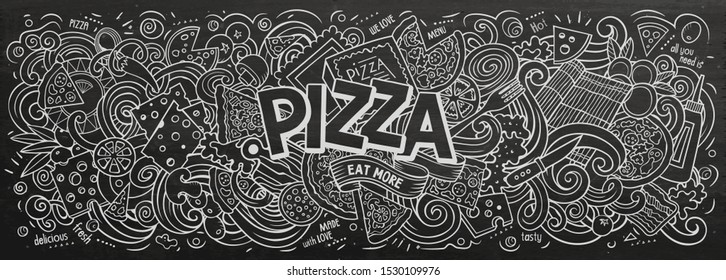 Pizza hand drawn cartoon doodles illustration. Pizzeria funny objects and elements design. Creative art background. Line art vector banner