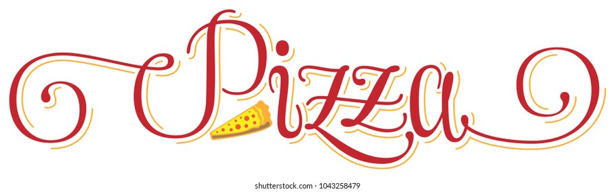 Pizza hand drawn cursive lettering calligraphy logo word, red colour with yellow shadows and a piece of pizza, vector illustration isolated, for cafe menu or restaurant decoration