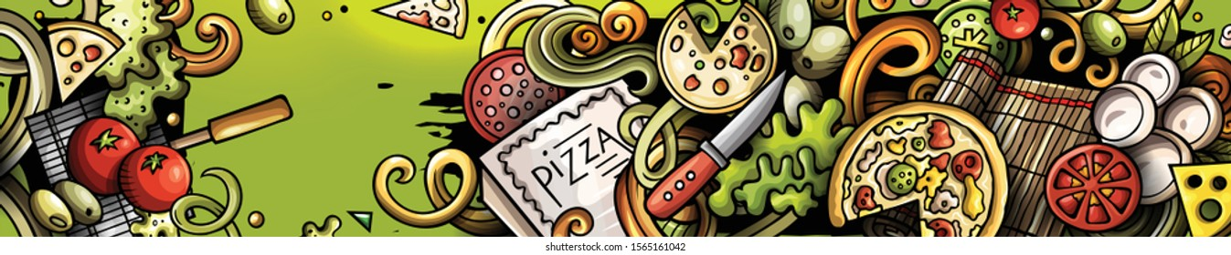 Pizza hand drawn doodle banner. Cartoon detailed flyer. Pizzeria identity with objects and symbols. Food illustrations. Color vector design elements background