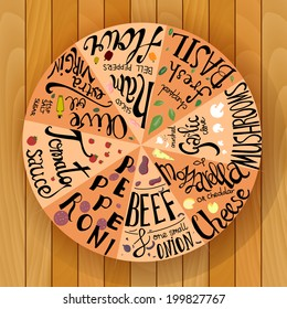 Pizza hand lettering illustration: tomatoes, beef, basil, pepperoni, cheese, flour, ham and other ingredients. Vector on the wooden background.