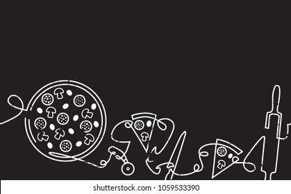 Pizza Horizontal Pattern. Backgraund with Continuous Drawing Pizzeria Elements isolated on Black.  Design Template. Chalkboard style. Vector illustration.