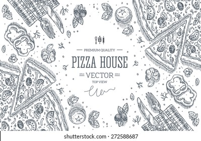Pizza House top view frame.Design template. Vector illustration
