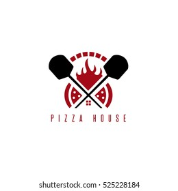 pizza house vector concept with oven and peels